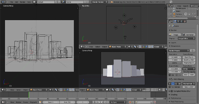 Screenshot of blender with robogoblin perspective sketch loaded