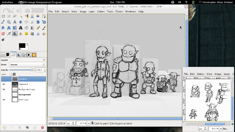 My desktop as I'm sketching out the 'robogoblin assemblage'