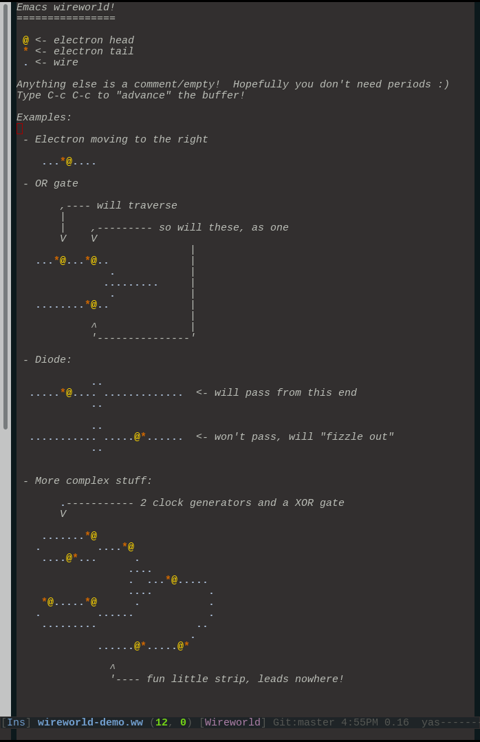 Wireworld in emacs screenshot
